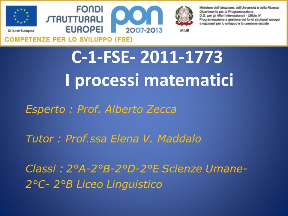 C-1-FSE- 2011-1773 I processi matematici Esperto : Prof. Alberto Zecca Tutor : Prof.ssa Elena V. Maddalo Classi : 2°A-2°B-2°D-2°E Scienze Umane- 2°C-