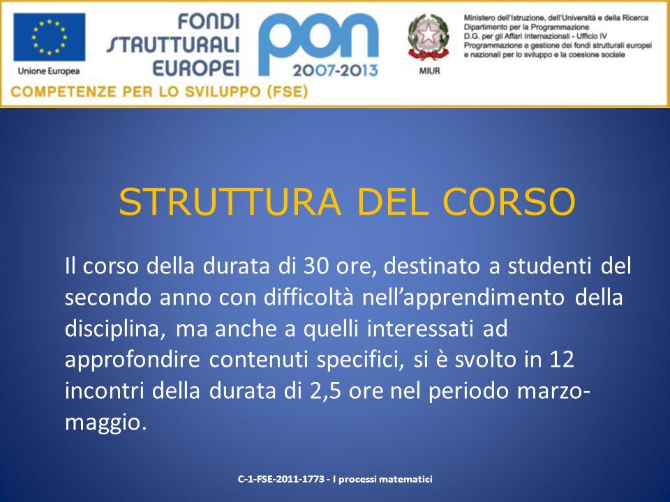 STRUTTURA DEL CORSO Il corso della durata di 30 ore, destinato a studenti del secondo anno con difficoltà nellapprendimento della disciplina, ma anche