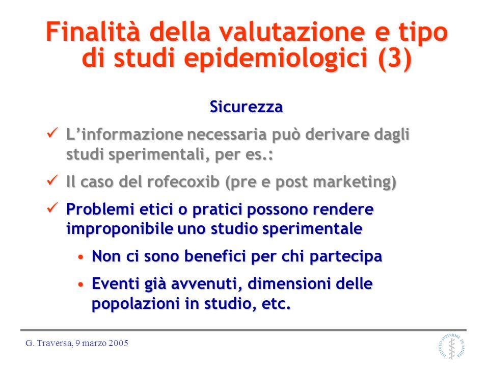 G. Traversa, 9 marzo 2005 Finalità della valutazione e tipo di studi epidemiologici (3) Sicurezza Linformazione necessaria può derivare dagli studi sp