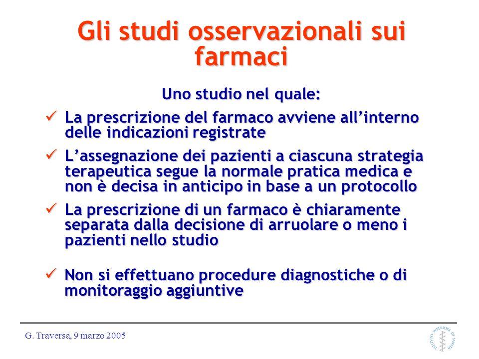 G. Traversa, 9 marzo 2005 Gli studi osservazionali sui farmaci Uno studio nel quale: La prescrizione del farmaco avviene allinterno delle indicazioni