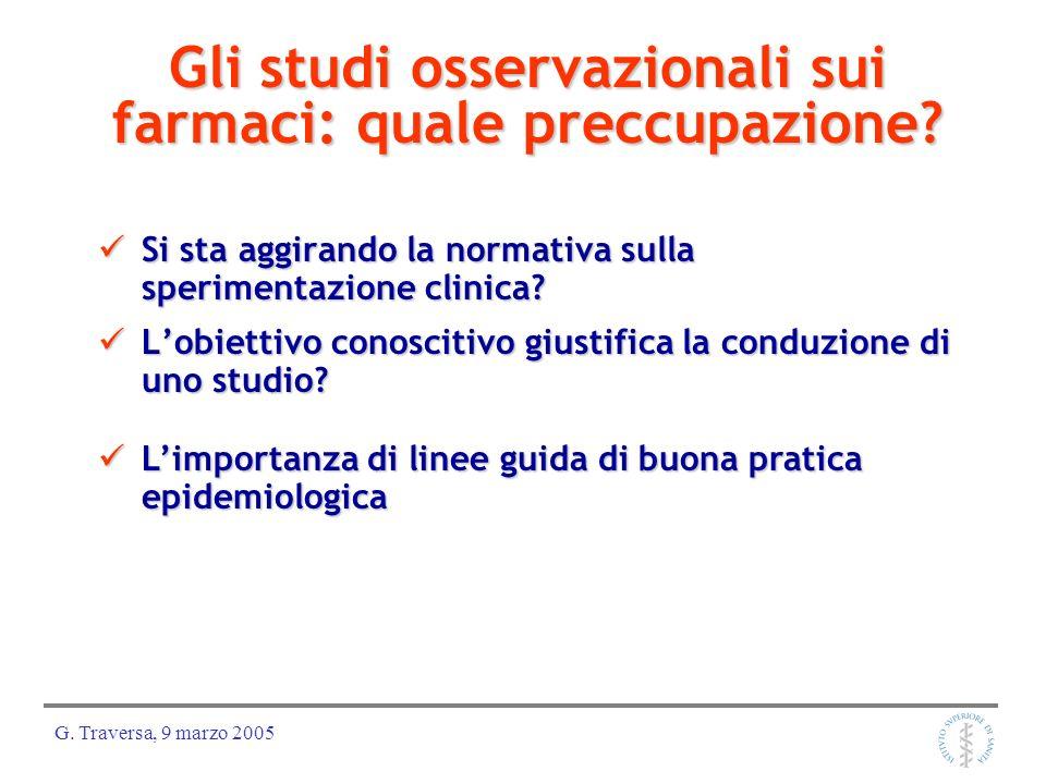 G. Traversa, 9 marzo 2005 Gli studi osservazionali sui farmaci: quale preccupazione? Si sta aggirando la normativa sulla sperimentazione clinica? Si s