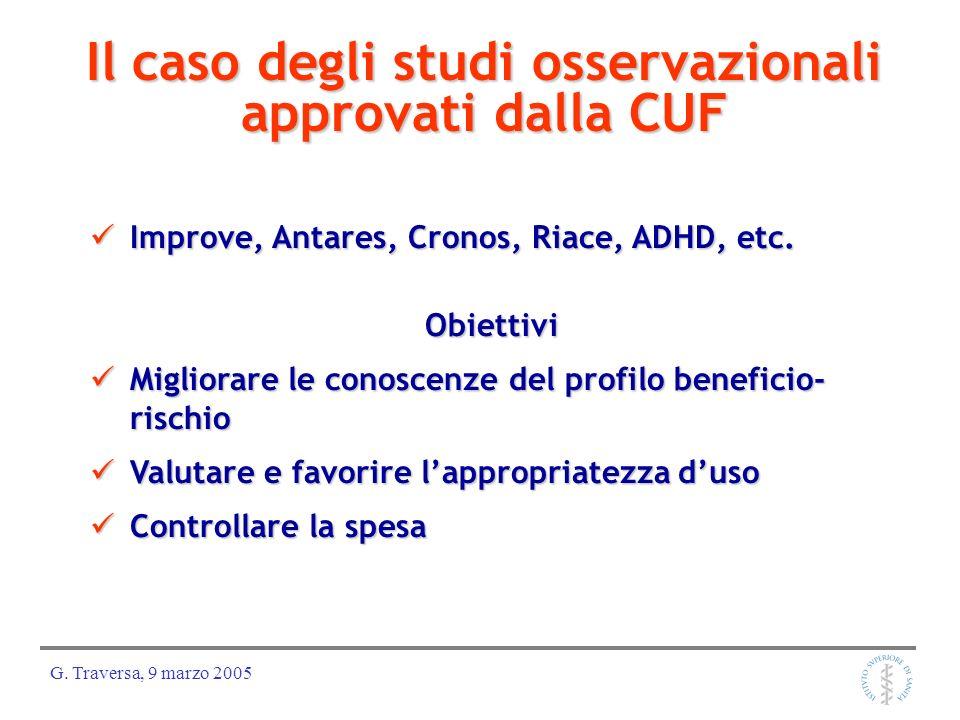 G. Traversa, 9 marzo 2005 Il caso degli studi osservazionali approvati dalla CUF Improve, Antares, Cronos, Riace, ADHD, etc. Improve, Antares, Cronos,