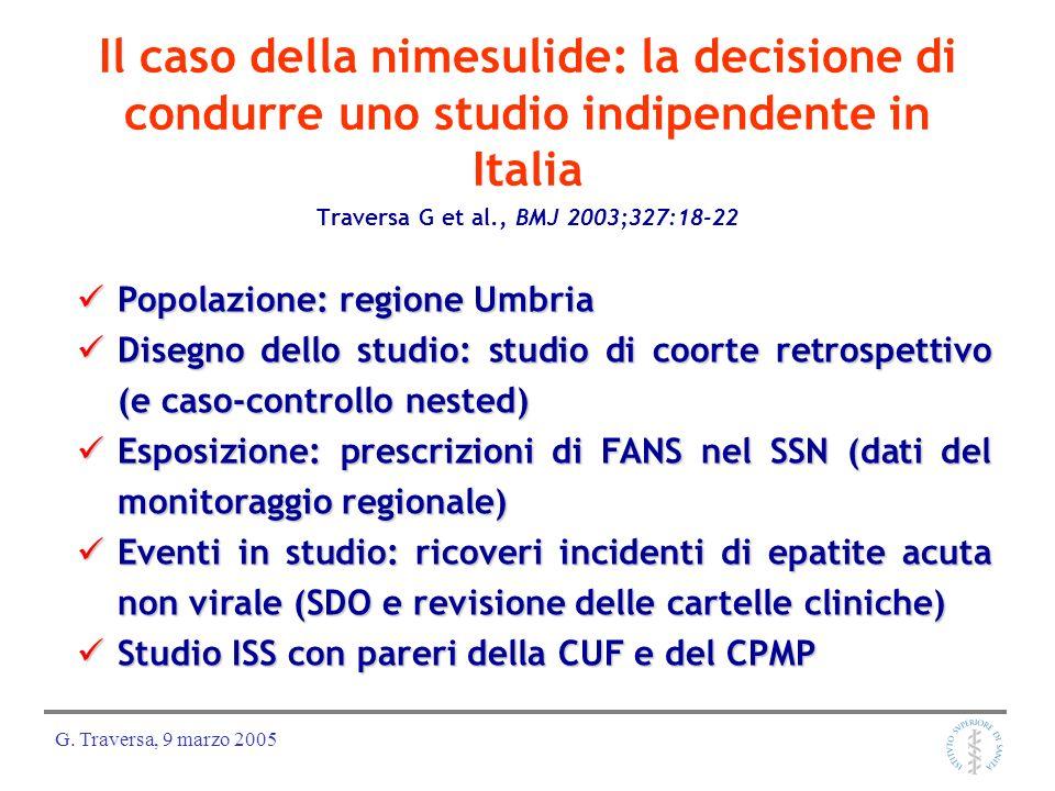 G. Traversa, 9 marzo 2005 Il caso della nimesulide: la decisione di condurre uno studio indipendente in Italia Traversa G et al., BMJ 2003;327:18-22 P