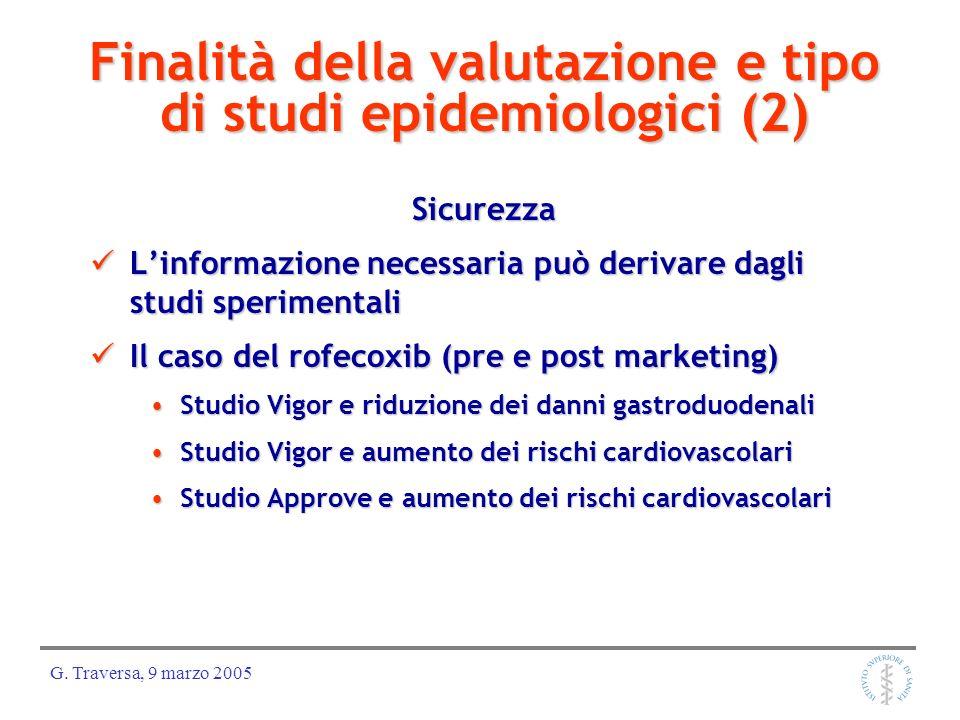 G. Traversa, 9 marzo 2005 Finalità della valutazione e tipo di studi epidemiologici (2) Sicurezza Linformazione necessaria può derivare dagli studi sp