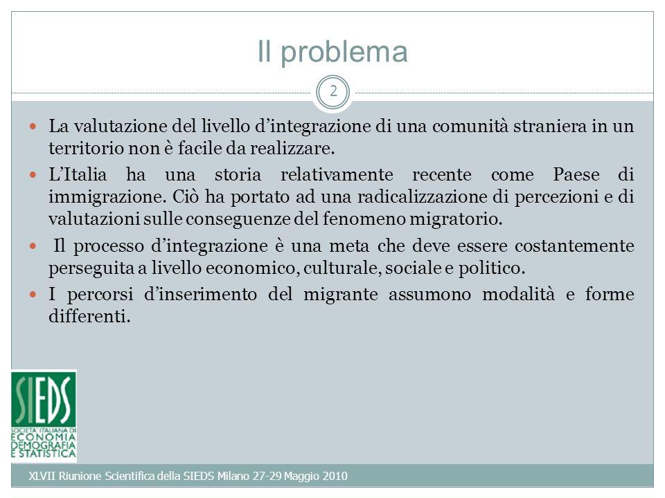 2 Il problema La valutazione del livello dintegrazione di una comunità straniera in un territorio non è facile da realizzare.
