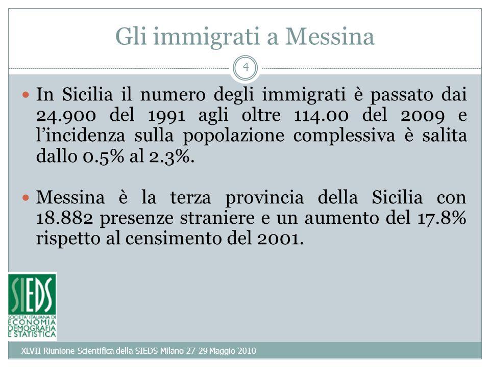 4 Gli immigrati a Messina In Sicilia il numero degli immigrati è passato dai 24.900 del 1991 agli oltre 114.00 del 2009 e lincidenza sulla popolazione complessiva è salita dallo 0.5% al 2.3%.