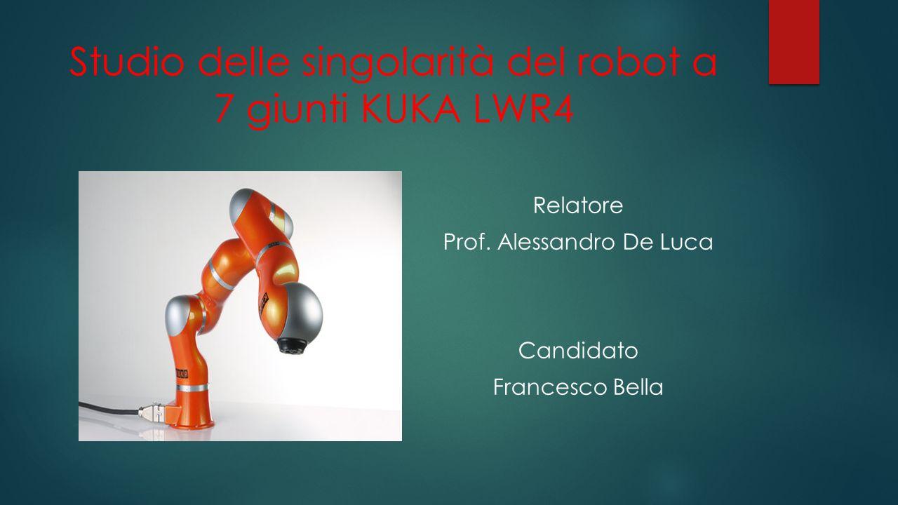 Studio delle singolarità del robot a 7 giunti KUKA LWR4 Relatore Prof.