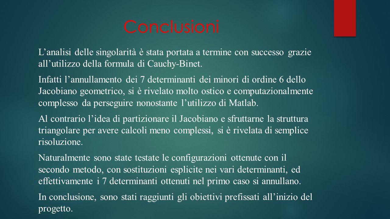 Conclusioni Lanalisi delle singolarità è stata portata a termine con successo grazie allutilizzo della formula di Cauchy-Binet.