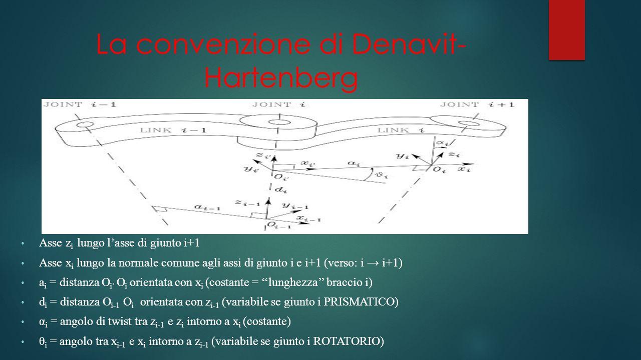 La convenzione di Denavit- Hartenberg Asse z i lungo lasse di giunto i+1 Asse x i lungo la normale comune agli assi di giunto i e i+1 (verso: i i+1) a i = distanza O i O i orientata con x i (costante = lunghezza braccio i) d i = distanza O i-1 O i orientata con z i-1 (variabile se giunto i PRISMATICO) α i = angolo di twist tra z i-1 e z i intorno a x i (costante) θ i = angolo tra x i-1 e x i intorno a z i-1 (variabile se giunto i ROTATORIO)