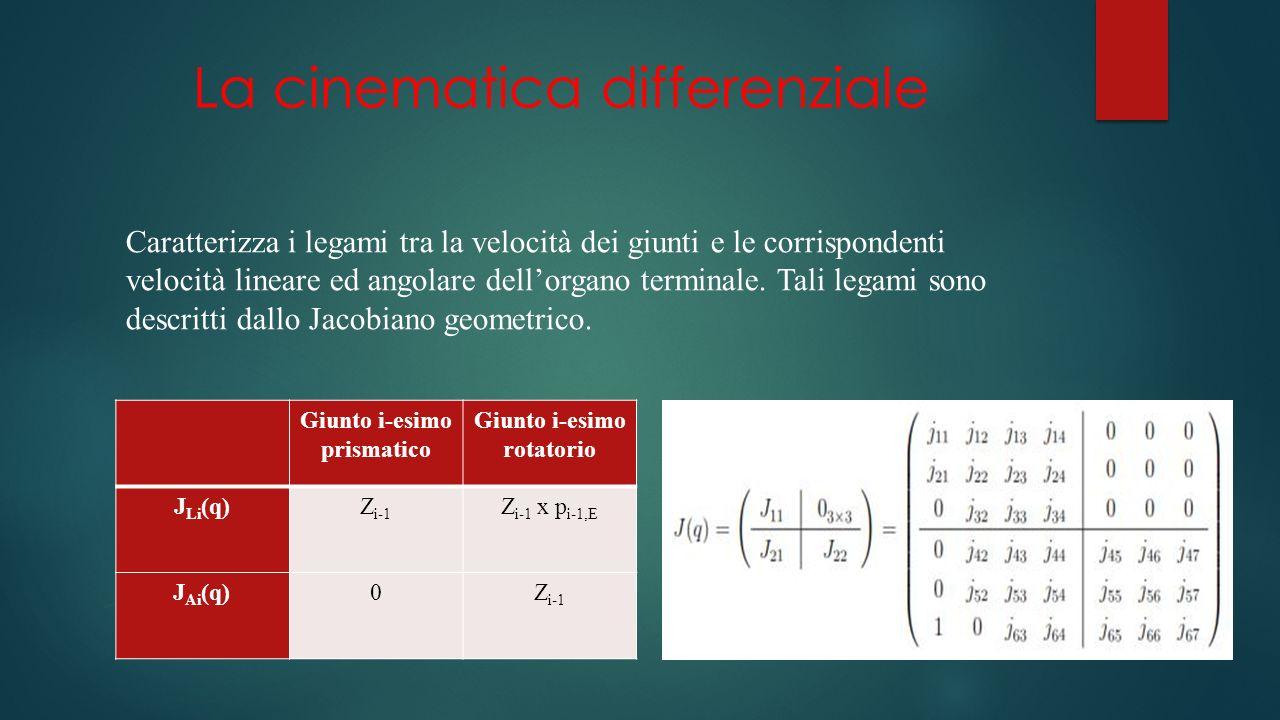 La cinematica differenziale Caratterizza i legami tra la velocità dei giunti e le corrispondenti velocità lineare ed angolare dellorgano terminale.