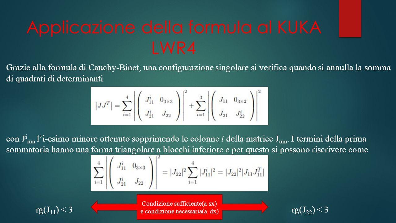 Applicazione della formula al KUKA LWR4 Grazie alla formula di Cauchy-Binet, una configurazione singolare si verifica quando si annulla la somma di quadrati di determinanti con J i mn li-esimo minore ottenuto sopprimendo le colonne i della matrice J mn.