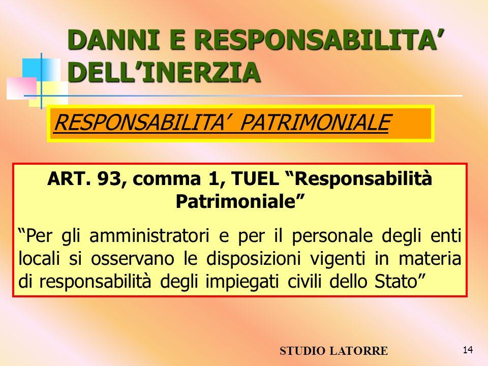 14 DANNI E RESPONSABILITA DELLINERZIA RESPONSABILITA PATRIMONIALE ART. 93, comma 1, TUEL Responsabilità Patrimoniale Per gli amministratori e per il p