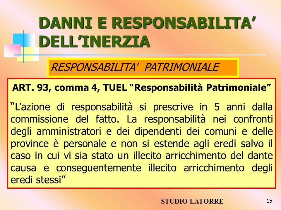 15 DANNI E RESPONSABILITA DELLINERZIA ART. 93, comma 4, TUEL Responsabilità Patrimoniale Lazione di responsabilità si prescrive in 5 anni dalla commis