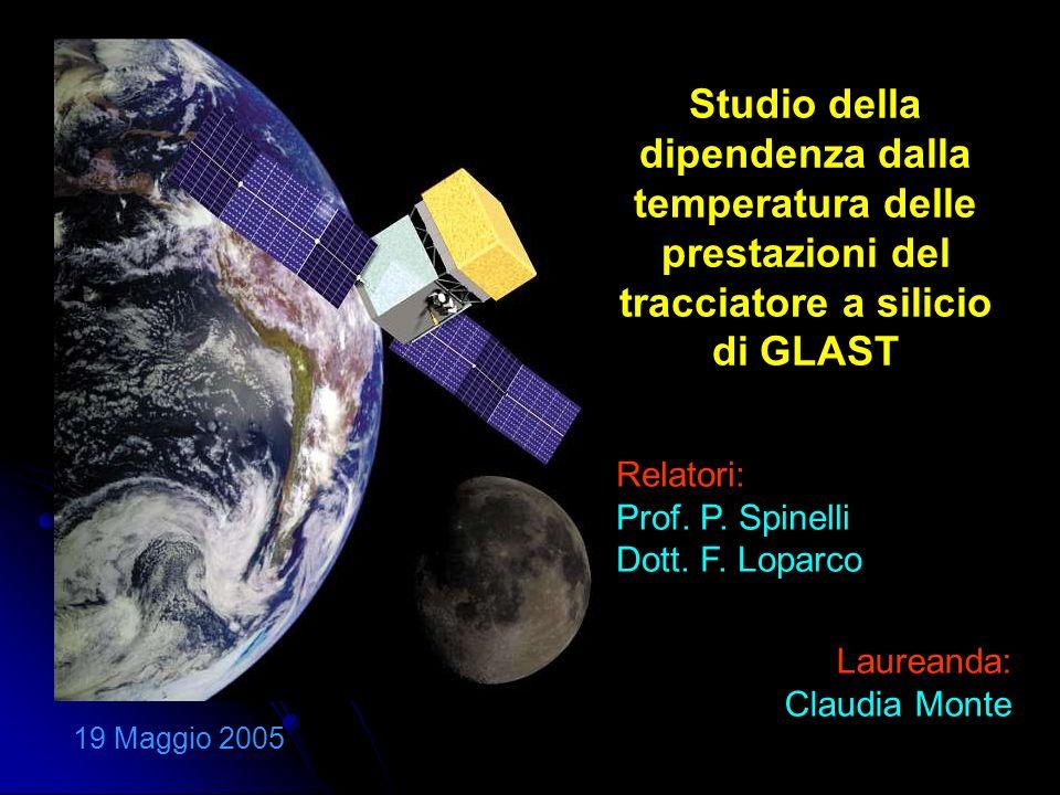 Studio della dipendenza dalla temperatura delle prestazioni del tracciatore a silicio di GLAST 19 Maggio 2005 Relatori: Prof.