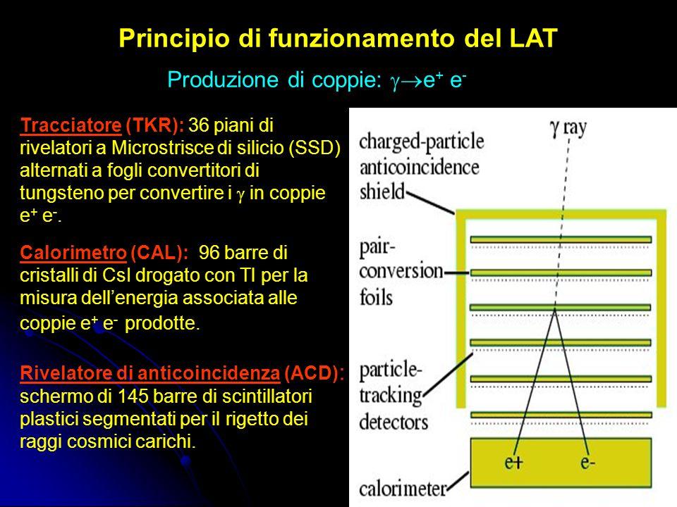 Principio di funzionamento del LAT Produzione di coppie: e + e - Tracciatore (TKR): 36 piani di rivelatori a Microstrisce di silicio (SSD) alternati a fogli convertitori di tungsteno per convertire i in coppie e + e -.