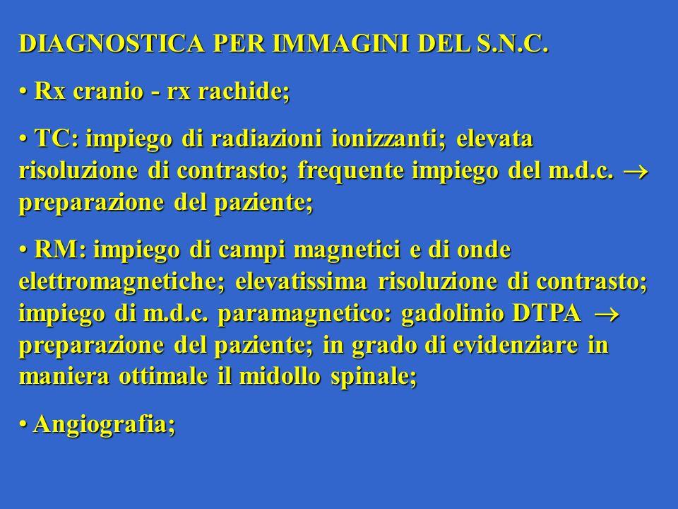 DIAGNOSTICA PER IMMAGINI DEL S.N.C. Rx cranio - rx rachide; Rx cranio - rx rachide; TC: impiego di radiazioni ionizzanti; elevata risoluzione di contr