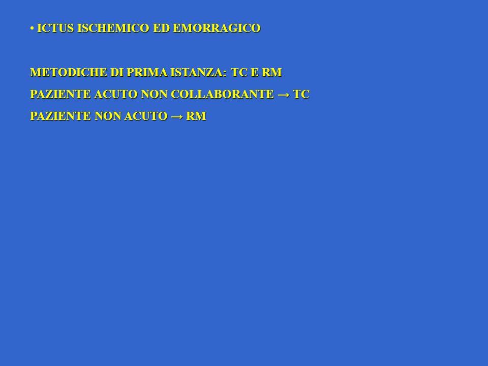 ICTUS ISCHEMICO ED EMORRAGICO METODICHE DI PRIMA ISTANZA: TC E RM PAZIENTE ACUTO NON COLLABORANTE TC PAZIENTE NON ACUTO RM