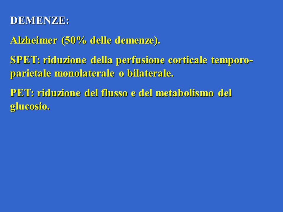 DEMENZE: Alzheimer (50% delle demenze). SPET: riduzione della perfusione corticale temporo- parietale monolaterale o bilaterale. PET: riduzione del fl