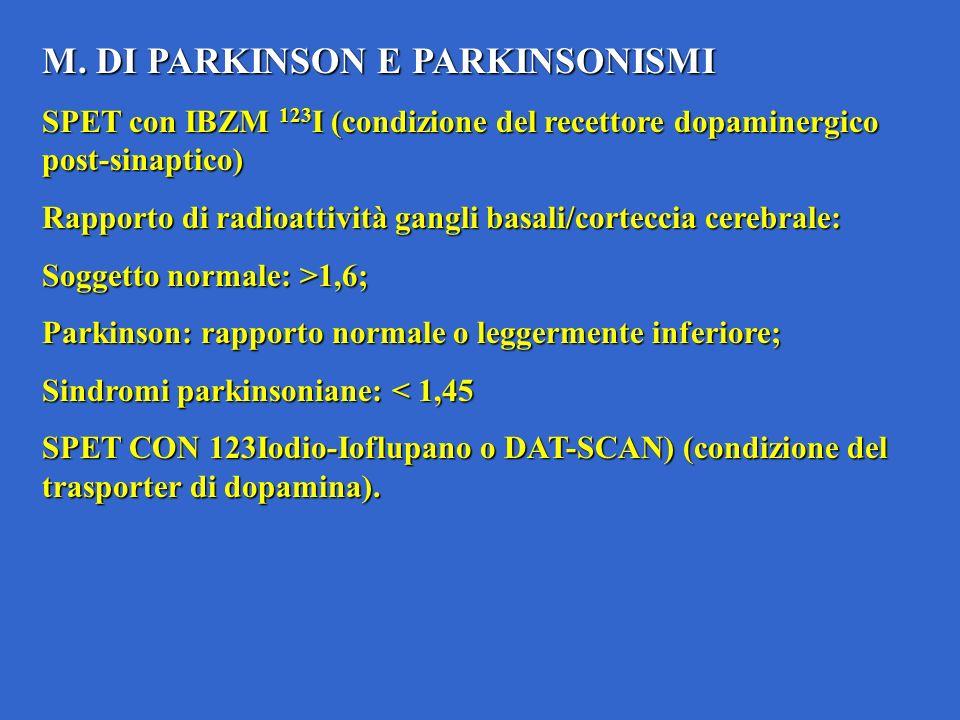 M. DI PARKINSON E PARKINSONISMI SPET con IBZM 123 I (condizione del recettore dopaminergico post-sinaptico) Rapporto di radioattività gangli basali/co