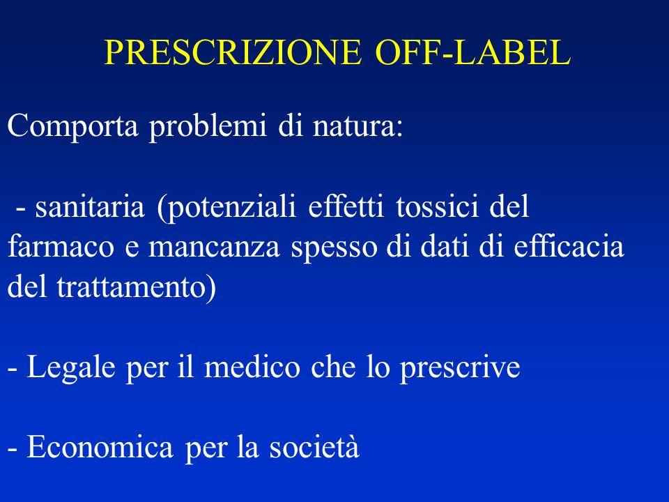 PRESCRIZIONE OFF-LABEL Comporta problemi di natura: - sanitaria (potenziali effetti tossici del farmaco e mancanza spesso di dati di efficacia del tra