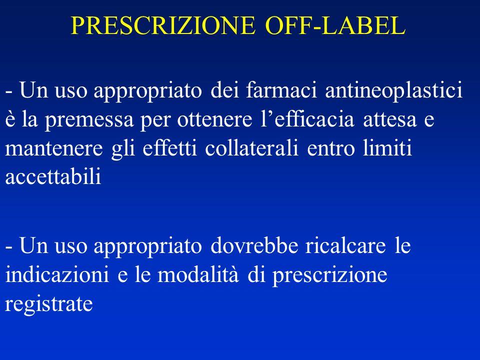 PRESCRIZIONE OFF-LABEL - Un uso appropriato dei farmaci antineoplastici è la premessa per ottenere lefficacia attesa e mantenere gli effetti collatera