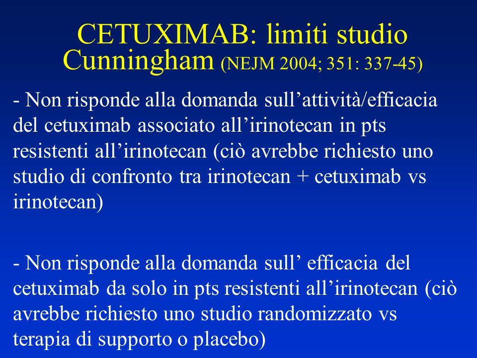 CETUXIMAB: limiti studio Cunningham (NEJM 2004; 351: 337-45) - Non risponde alla domanda sullattività/efficacia del cetuximab associato allirinotecan