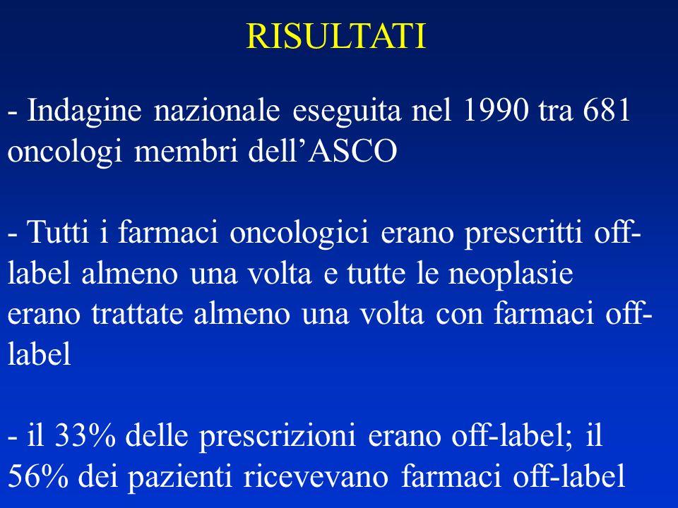 RISULTATI - Indagine nazionale eseguita nel 1990 tra 681 oncologi membri dellASCO - Tutti i farmaci oncologici erano prescritti off- label almeno una