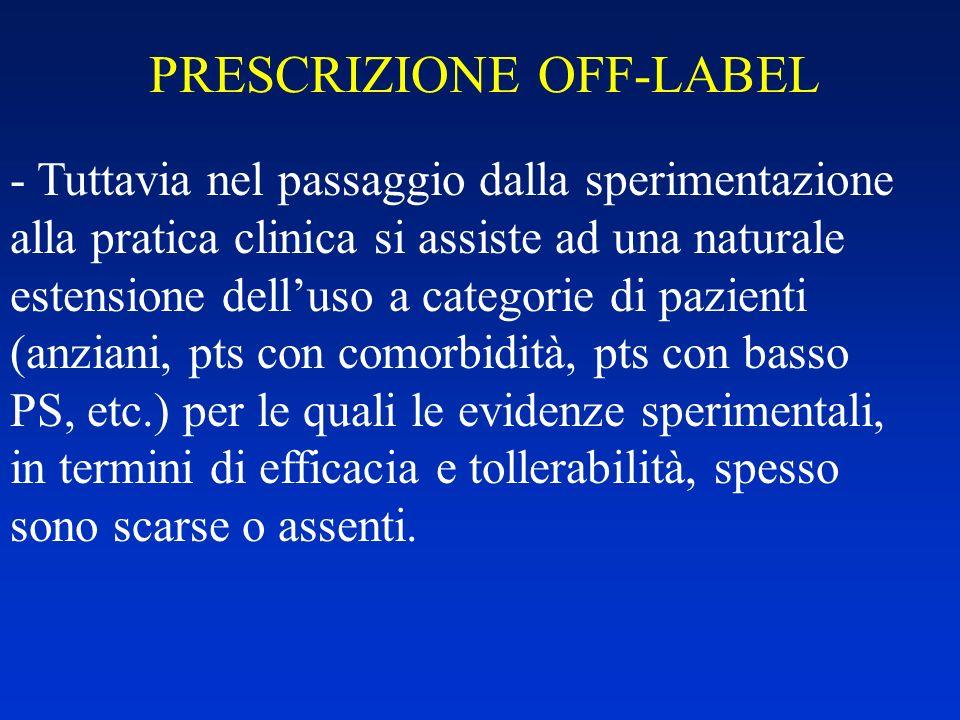 PRESCRIZIONE OFF-LABEL - Tuttavia nel passaggio dalla sperimentazione alla pratica clinica si assiste ad una naturale estensione delluso a categorie d