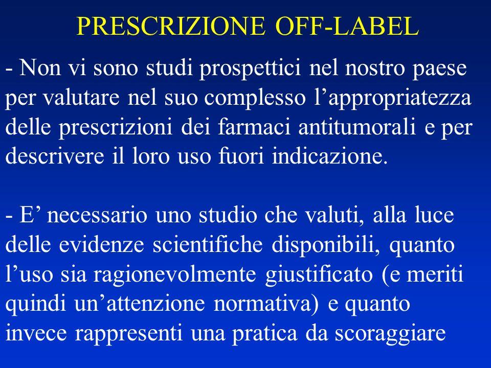 PRESCRIZIONE OFF-LABEL - Non vi sono studi prospettici nel nostro paese per valutare nel suo complesso lappropriatezza delle prescrizioni dei farmaci