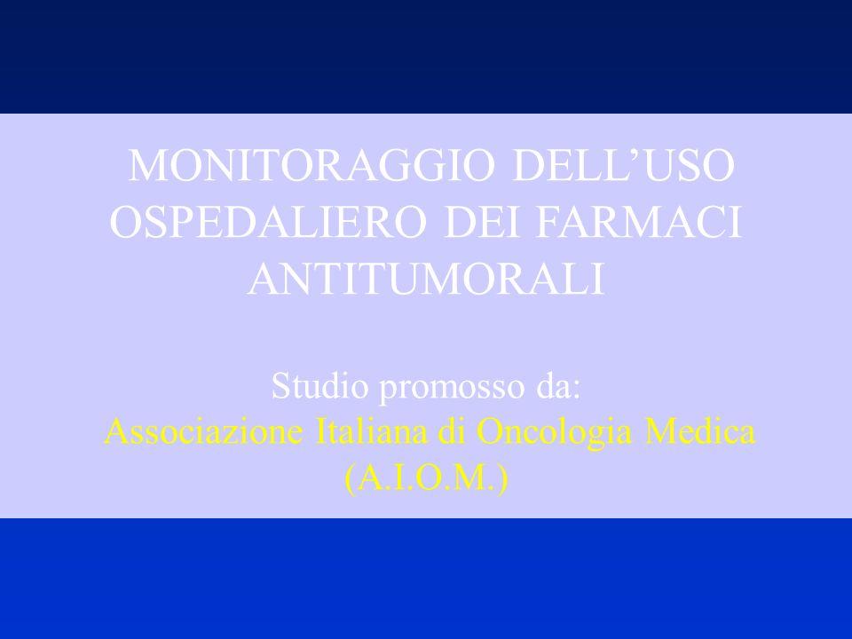 MONITORAGGIO DELLUSO OSPEDALIERO DEI FARMACI ANTITUMORALI Studio promosso da: Associazione Italiana di Oncologia Medica (A.I.O.M.)