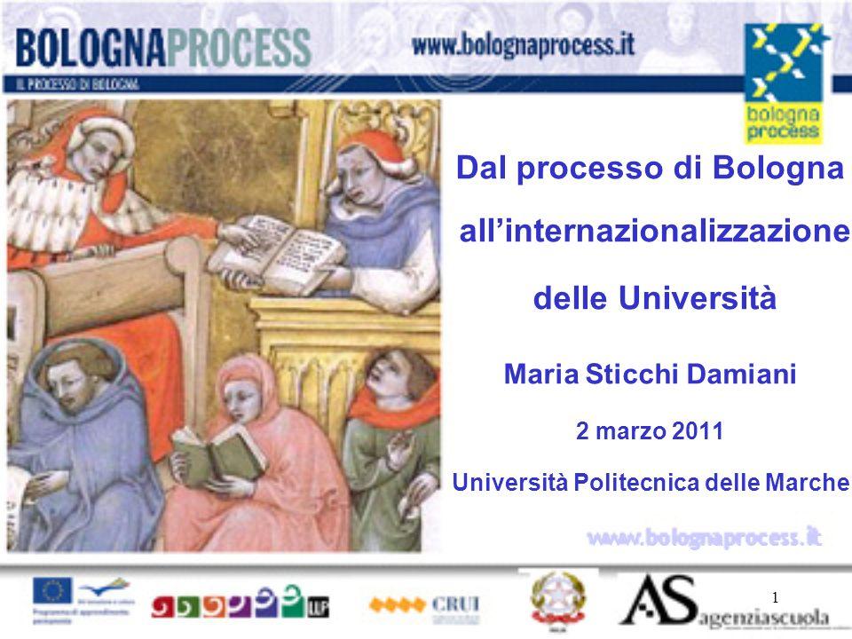 1 www.bolognaprocess.i t Dal processo di Bologna allinternazionalizzazione delle Università Maria Sticchi Damiani 2 marzo 2011 Università Politecnica delle Marche