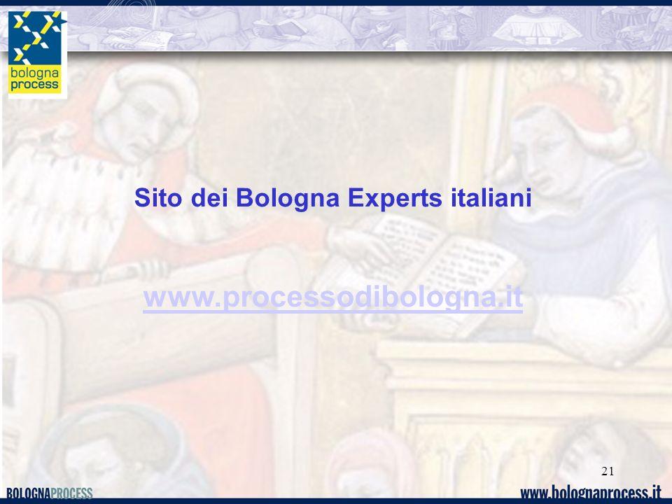 21 Sito dei Bologna Experts italiani www.processodibologna.it