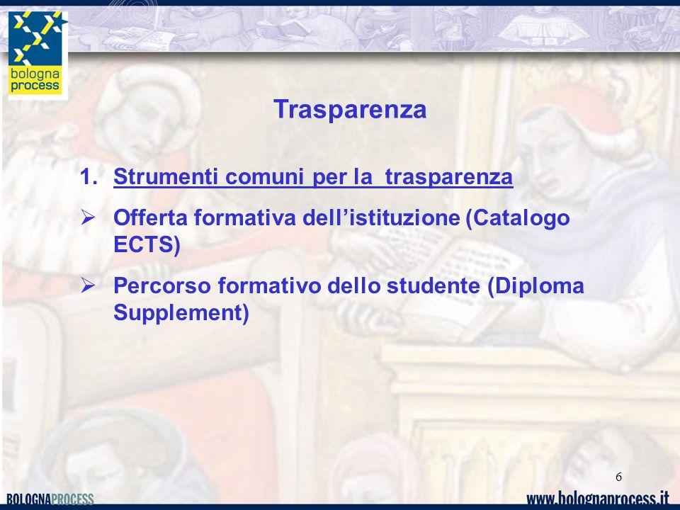 6 Trasparenza 1.Strumenti comuni per la trasparenza Offerta formativa dellistituzione (Catalogo ECTS) Percorso formativo dello studente (Diploma Supplement)