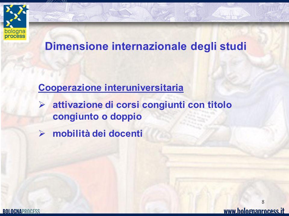 8 Dimensione internazionale degli studi Cooperazione interuniversitaria attivazione di corsi congiunti con titolo congiunto o doppio mobilità dei docenti