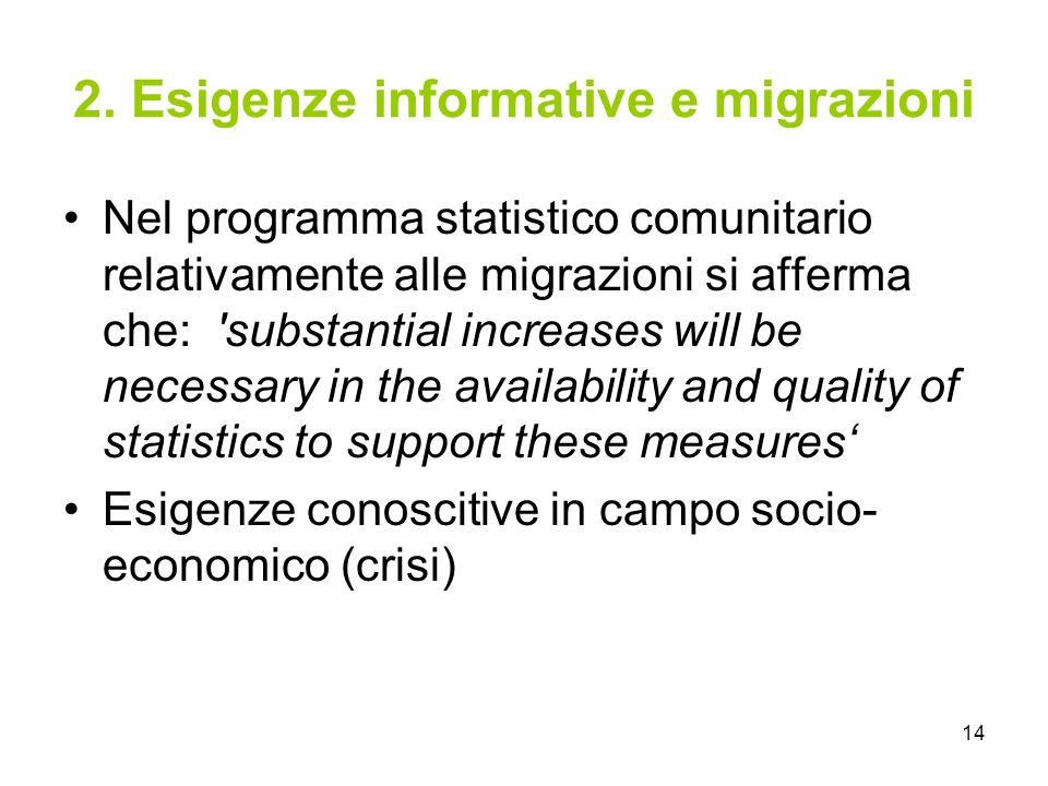 14 2. Esigenze informative e migrazioni Nel programma statistico comunitario relativamente alle migrazioni si afferma che: 'substantial increases will