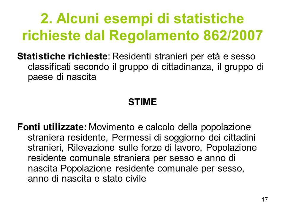 17 2. Alcuni esempi di statistiche richieste dal Regolamento 862/2007 Statistiche richieste: Residenti stranieri per età e sesso classificati secondo