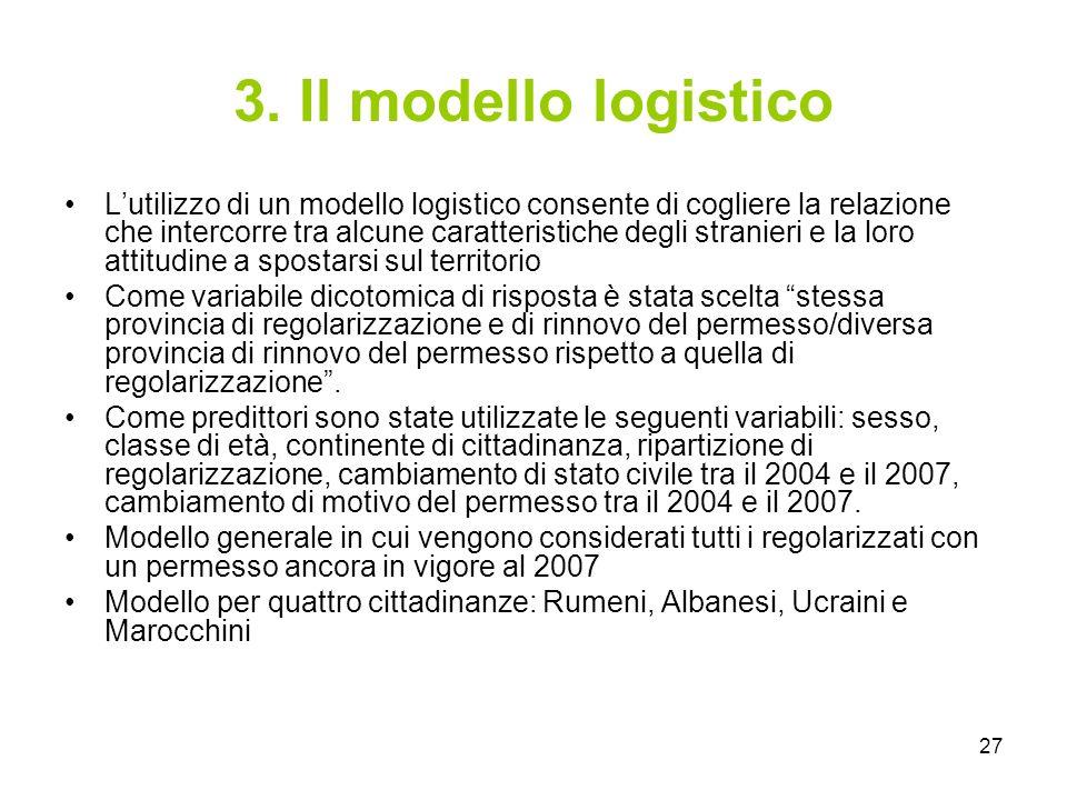 27 3. Il modello logistico Lutilizzo di un modello logistico consente di cogliere la relazione che intercorre tra alcune caratteristiche degli stranie