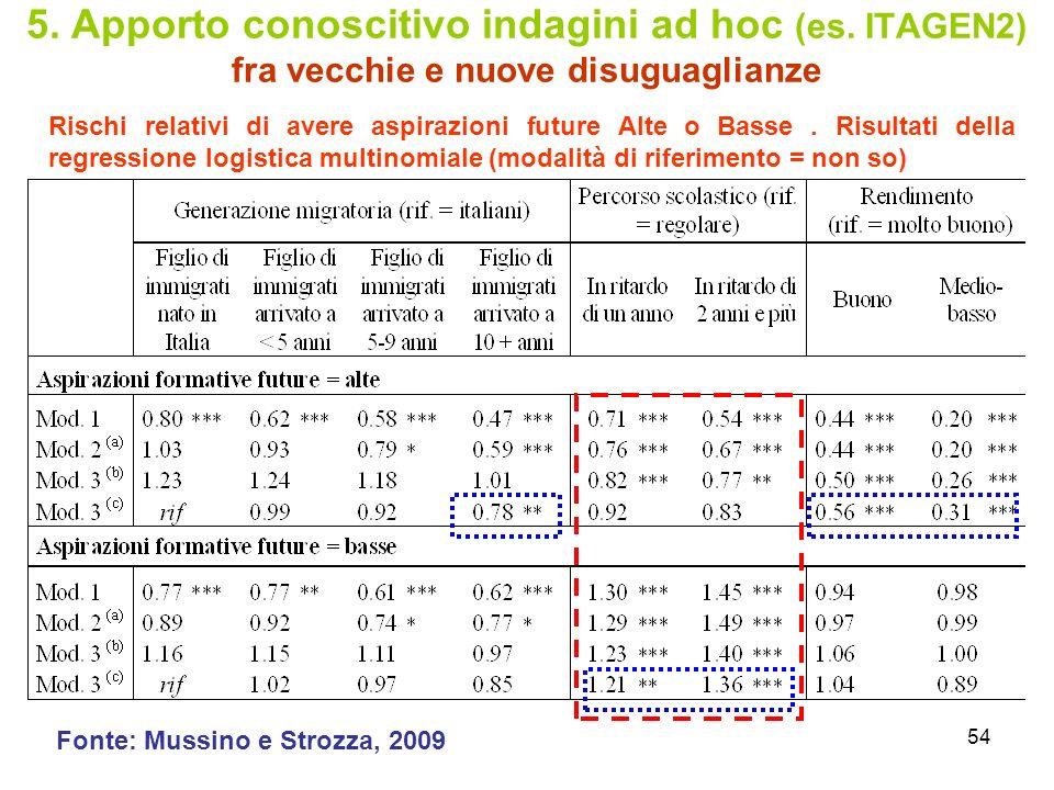 54 5.Apporto conoscitivo indagini ad hoc (es.