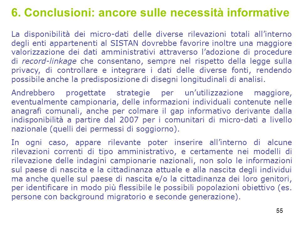 55 6. Conclusioni: ancore sulle necessità informative La disponibilità dei micro-dati delle diverse rilevazioni totali allinterno degli enti appartene