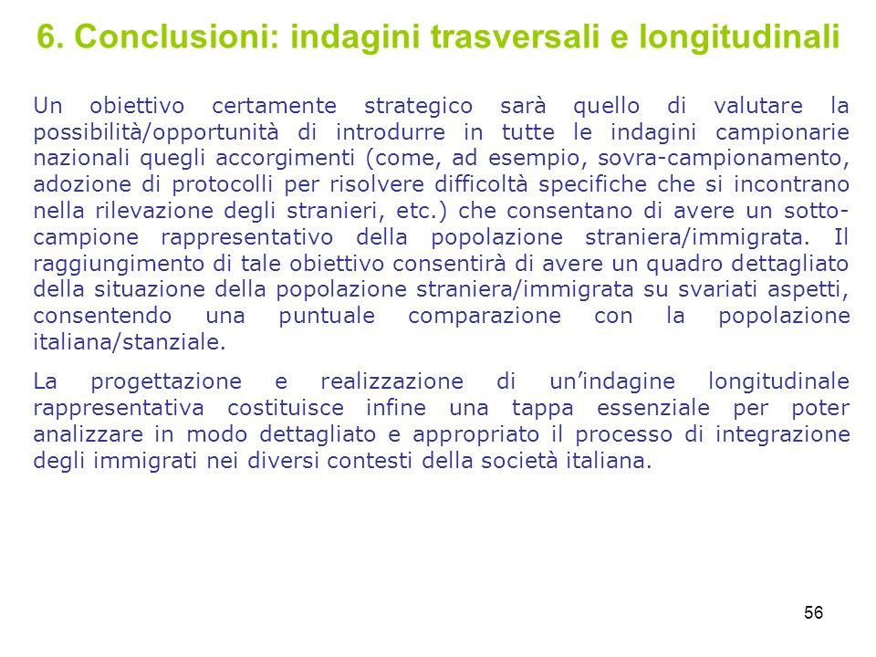 56 6. Conclusioni: indagini trasversali e longitudinali Un obiettivo certamente strategico sarà quello di valutare la possibilità/opportunità di intro