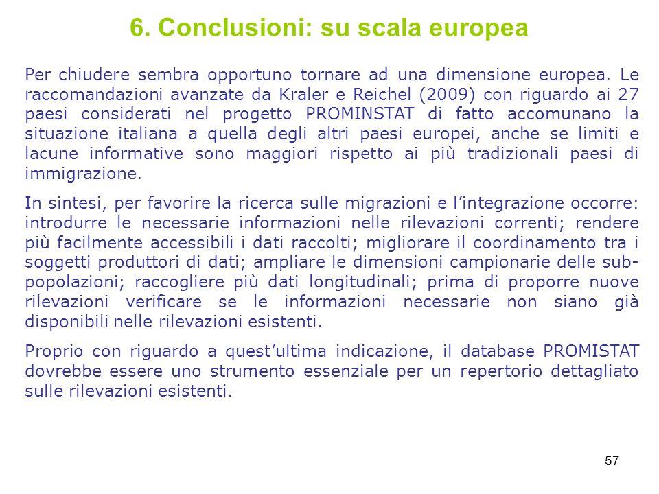 57 6. Conclusioni: su scala europea Per chiudere sembra opportuno tornare ad una dimensione europea. Le raccomandazioni avanzate da Kraler e Reichel (