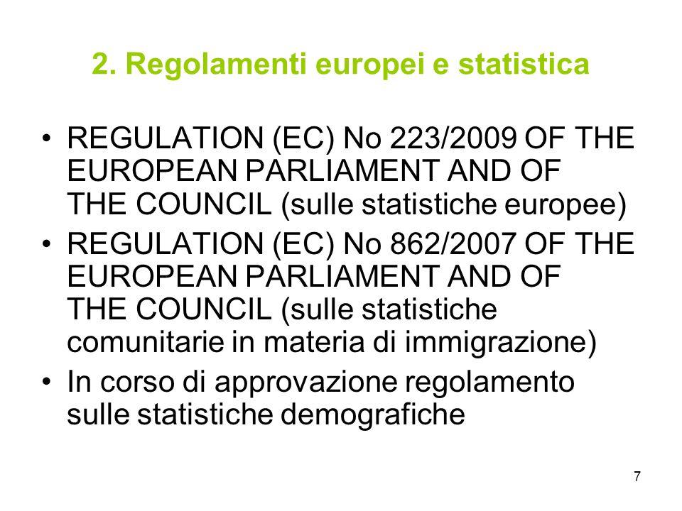 7 2. Regolamenti europei e statistica REGULATION (EC) No 223/2009 OF THE EUROPEAN PARLIAMENT AND OF THE COUNCIL (sulle statistiche europee) REGULATION