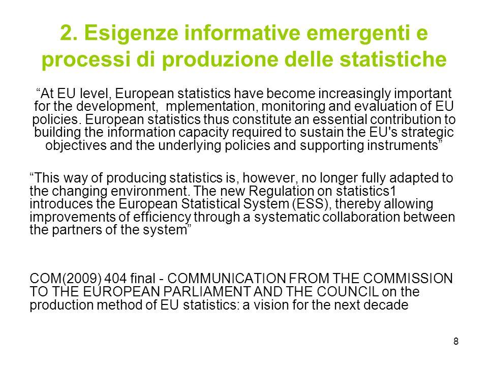 8 2. Esigenze informative emergenti e processi di produzione delle statistiche At EU level, European statistics have become increasingly important for