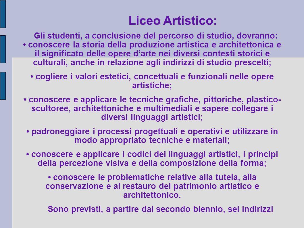 Liceo Artistico: Gli studenti, a conclusione del percorso di studio, dovranno: conoscere la storia della produzione artistica e architettonica e il si