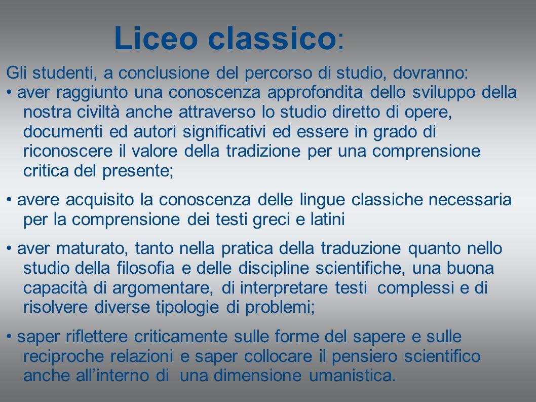 Liceo classico : Gli studenti, a conclusione del percorso di studio, dovranno: aver raggiunto una conoscenza approfondita dello sviluppo della nostra