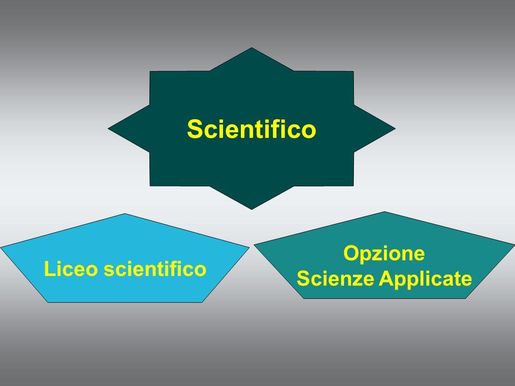 Scientifico Liceo scientifico Opzione Scienze Applicate