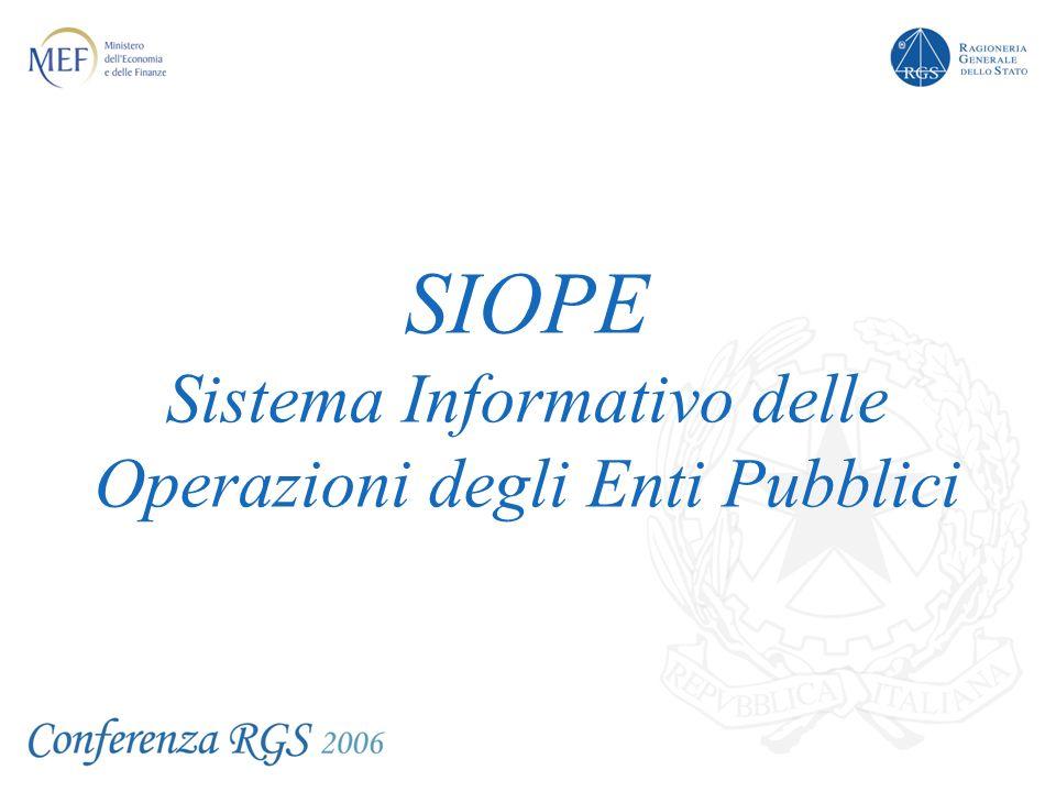 SIOPE Sistema Informativo delle Operazioni degli Enti Pubblici