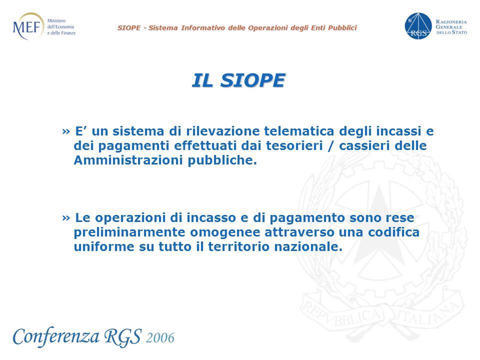 SIOPE - Sistema Informativo delle Operazioni degli Enti Pubblici IL SIOPE » E un sistema di rilevazione telematica degli incassi e dei pagamenti effettuati dai tesorieri / cassieri delle Amministrazioni pubbliche.