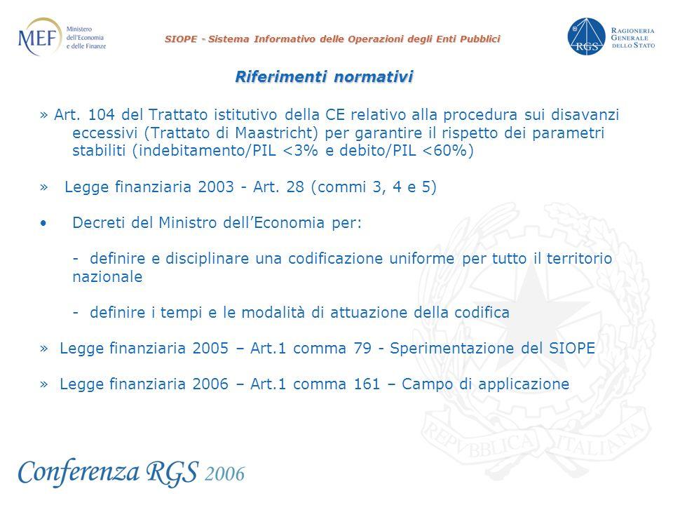 SIOPE - Sistema Informativo delle Operazioni degli Enti Pubblici Riferimenti normativi » Art.