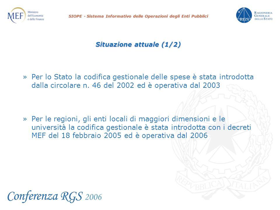SIOPE - Sistema Informativo delle Operazioni degli Enti Pubblici Situazione attuale (1/2) » Per lo Stato la codifica gestionale delle spese è stata introdotta dalla circolare n.
